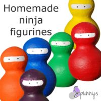 Spun cotton peg dolls - ninjas