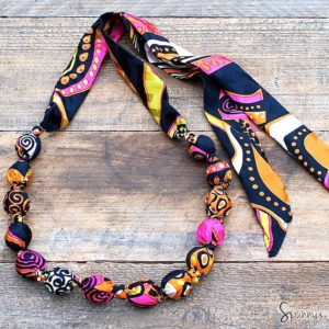 Fabric covered bead necklace tutorial DIY