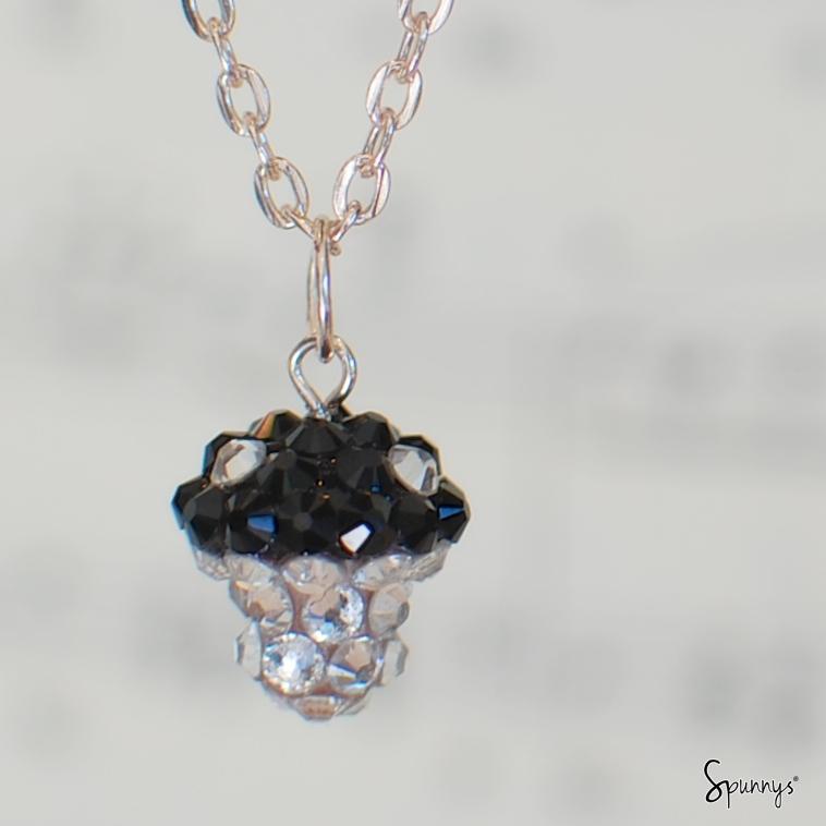 homemade Swarovski crystal encrusted mushroom pendant
