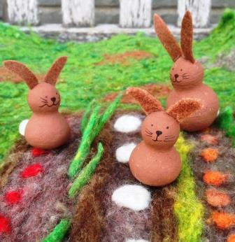 Painted peg dolls rabbits