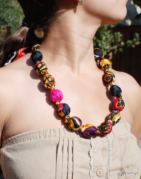 fabric covered bead necklace how to