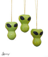Halloween DIY green monster alien ornaments