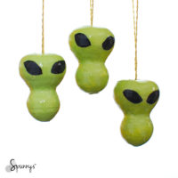 Halloween ornaments DIY green aliens