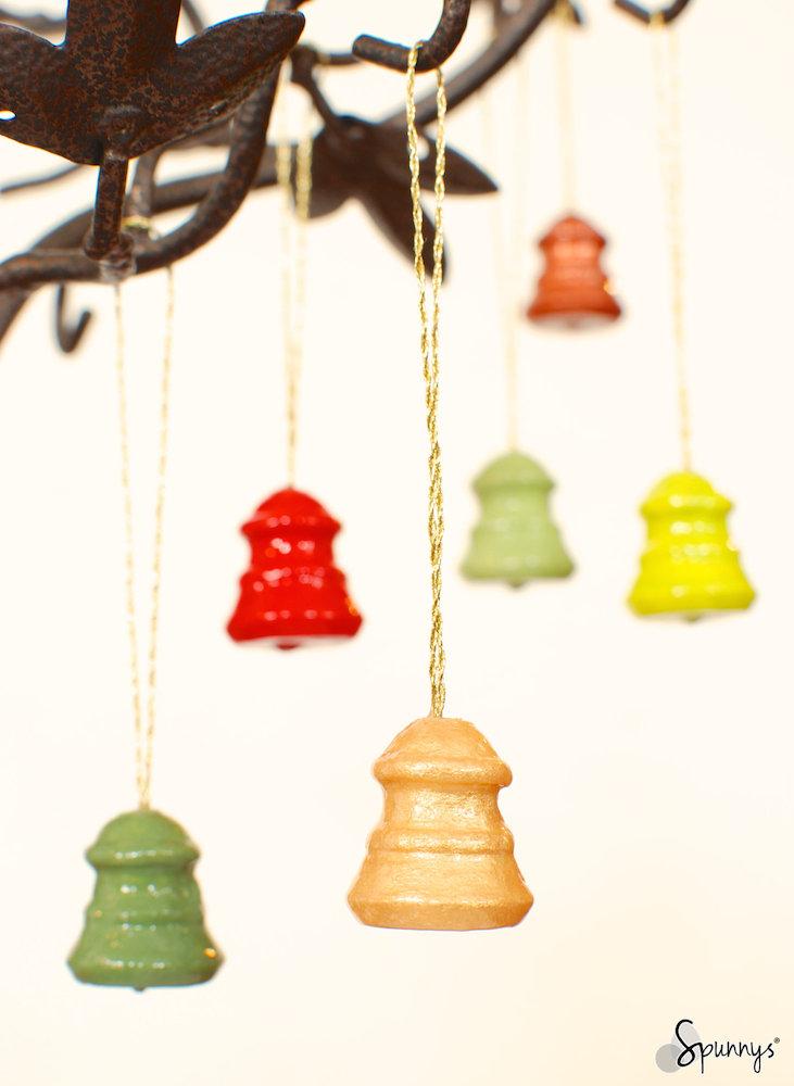 Spun cotton ornaments christmas bells DIY