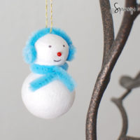 ear muff snowman ornament pipe cleaner DIY craft