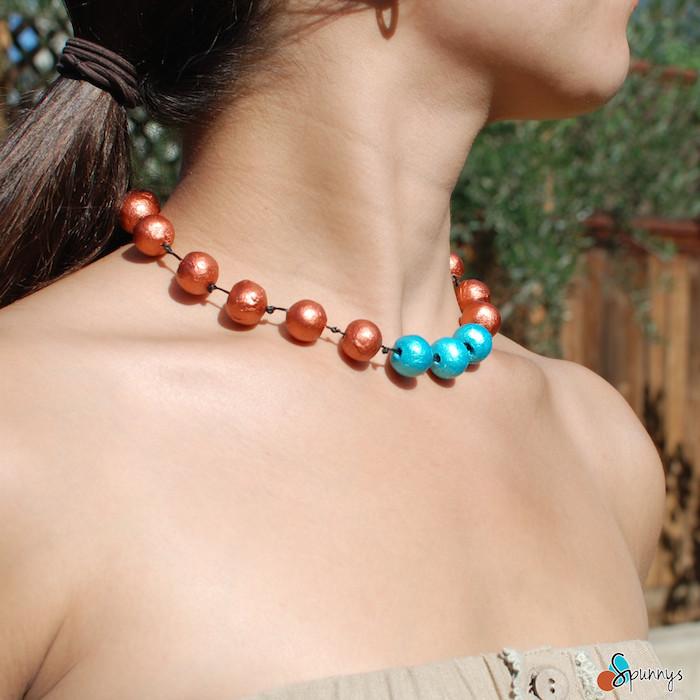 paper bead necklace tutorial DIY