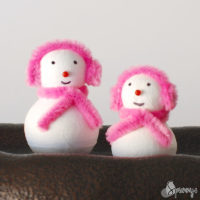 pink earmuffs snowman ornament craft project ideas