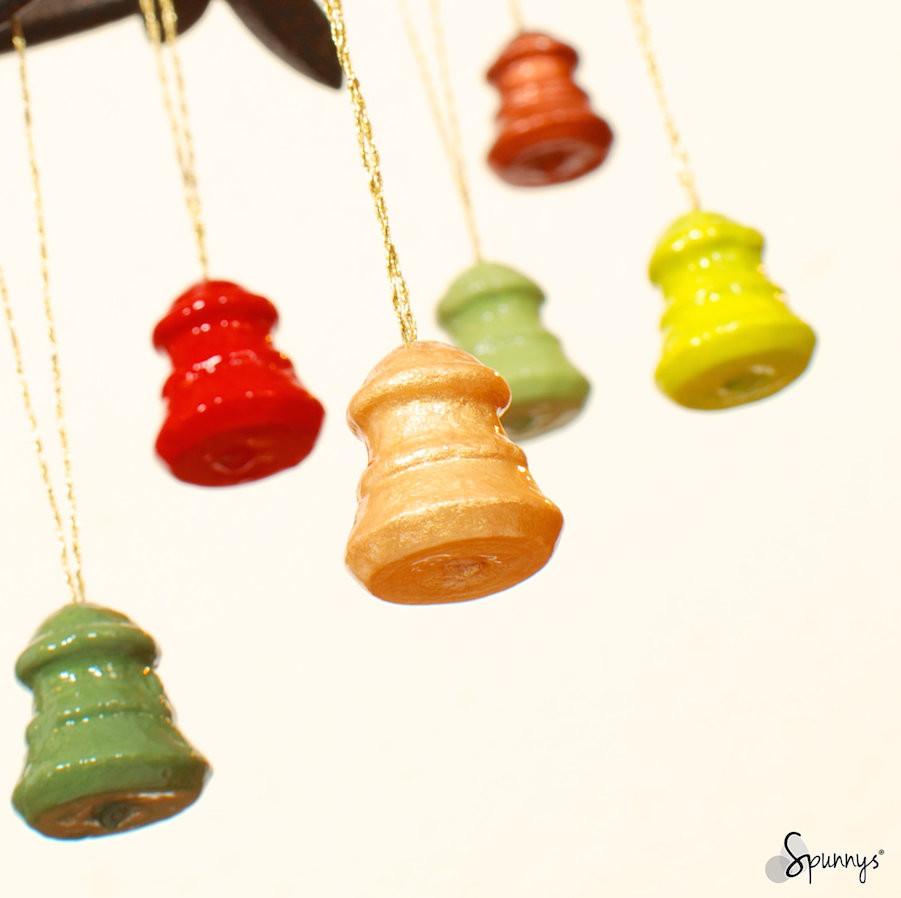 spun cotton ornaments Holidays painted bells DIY