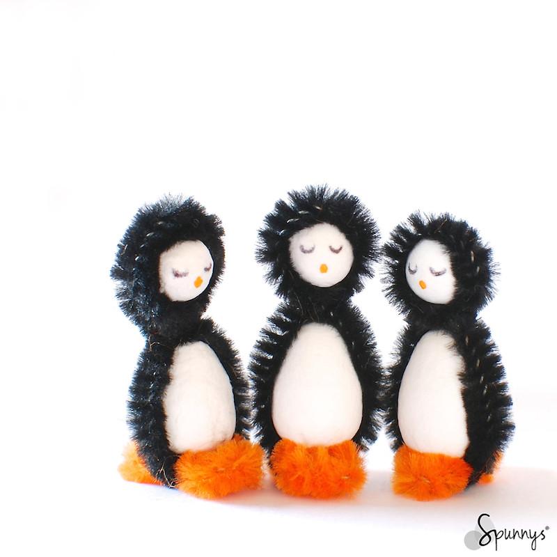 spun cotton ornaments penguins DIY craft ideas