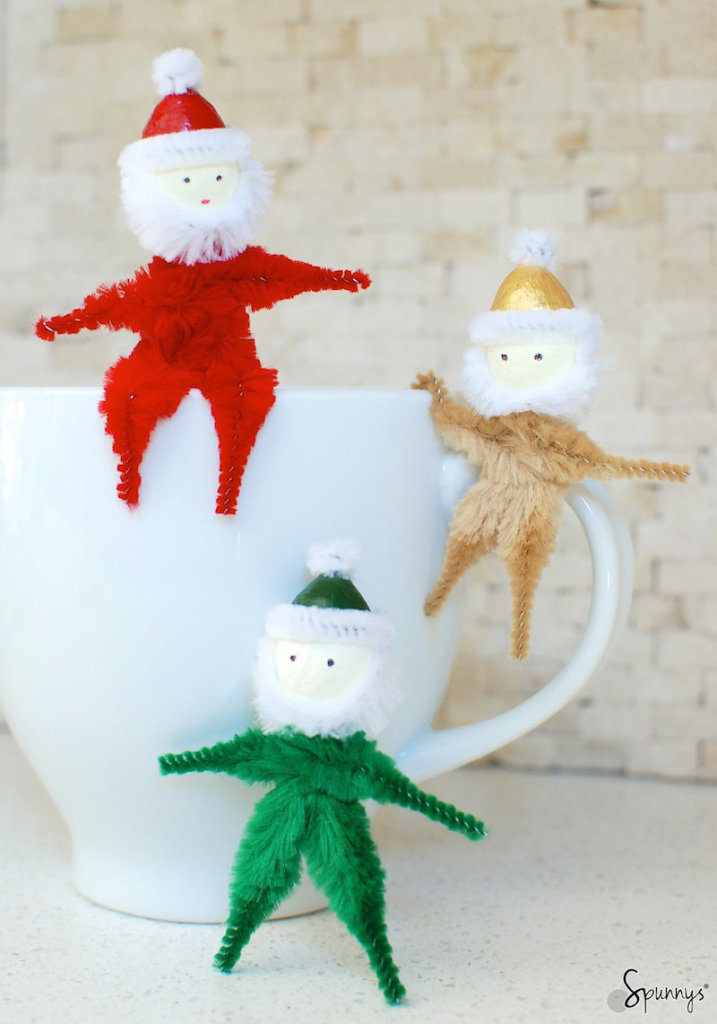 Pipe cleaner santa claus ornaments easy christmas DIY