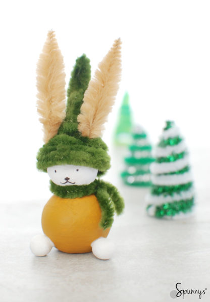 Pipe cleaner bunny Christmas ornaments DIY