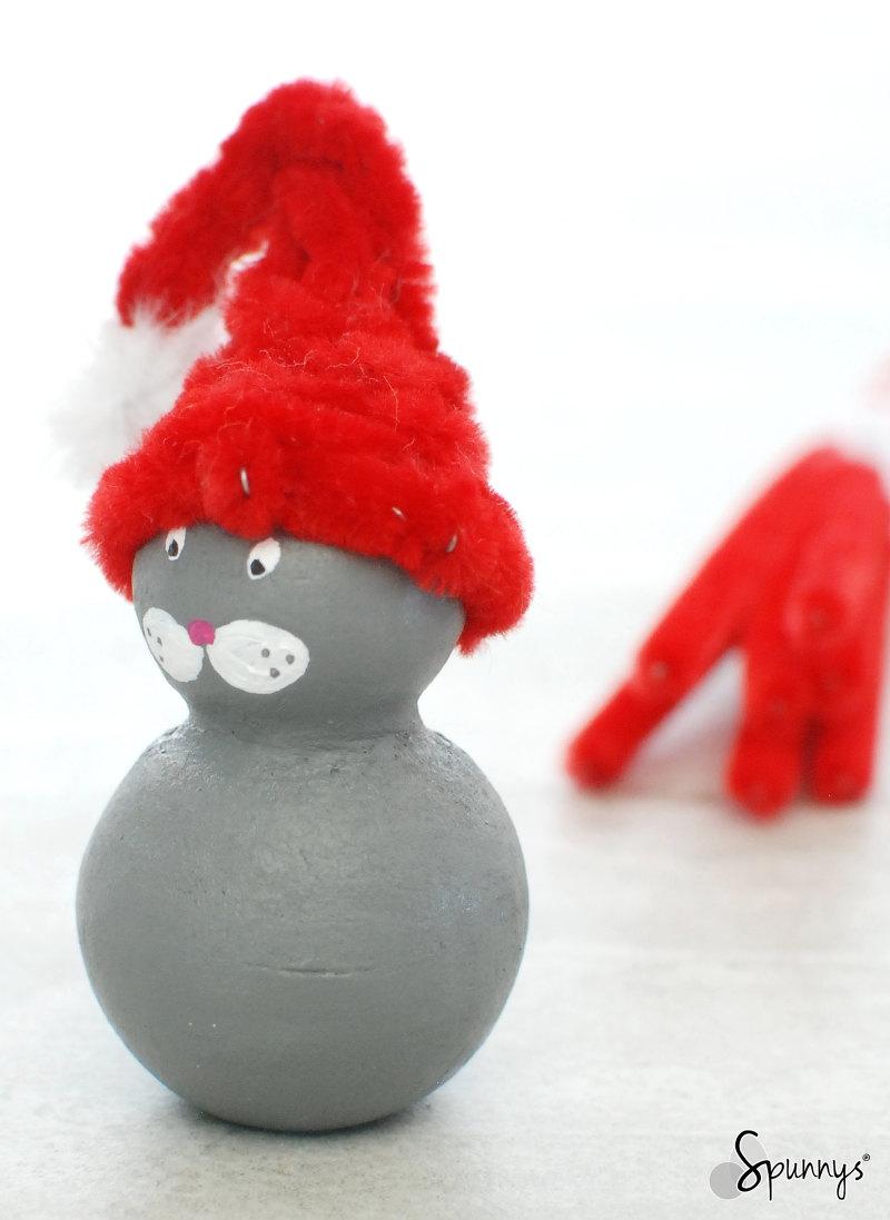 christmas cat animal peg doll