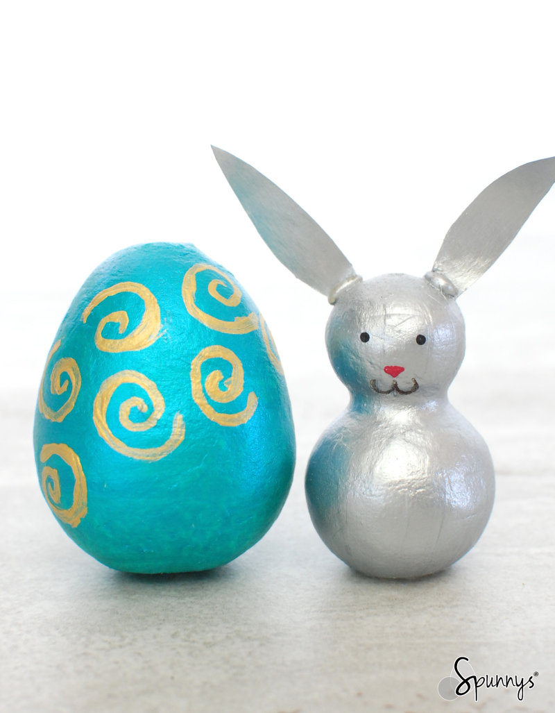 irridescent silver bunny peg doll Easter egg