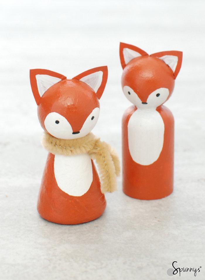 woodlan animal peg doll foxes