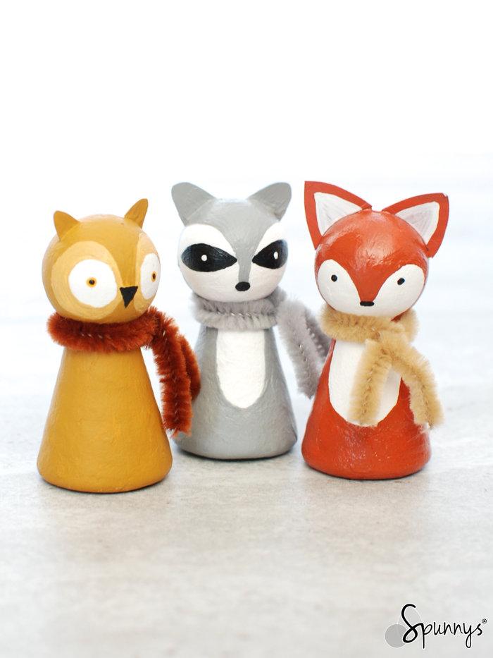 woodland animal creatures peg dolls
