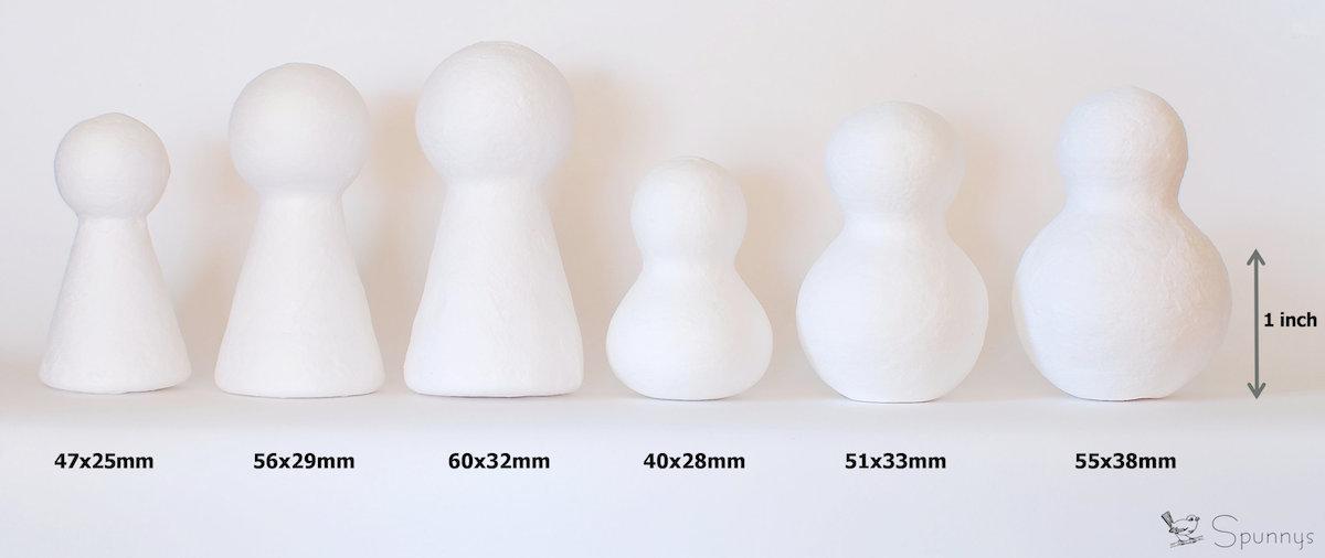 Blank unpainted chess set pieces spun cotton dolls