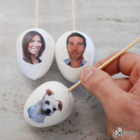 DIY decoupage ornaments family personalized Easter eggs