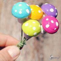German spun cotton mushrooms DIY vintage craft