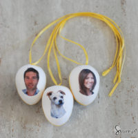 Spun cotton eggs DIY family photo ornaments