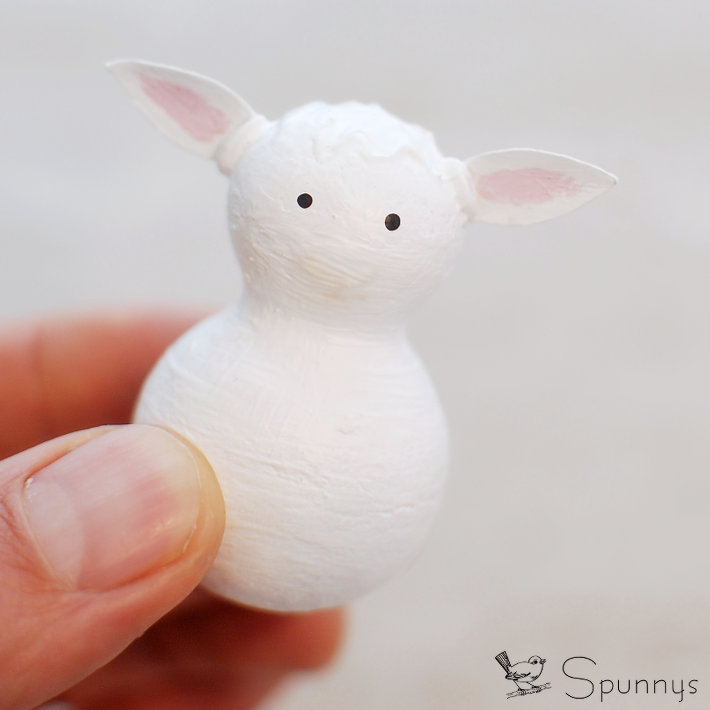 Spun cotton lamb ornament
