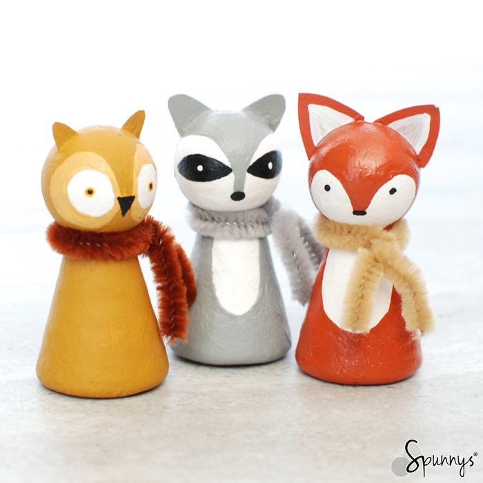 Spun cotton shapes Animal peg dolls