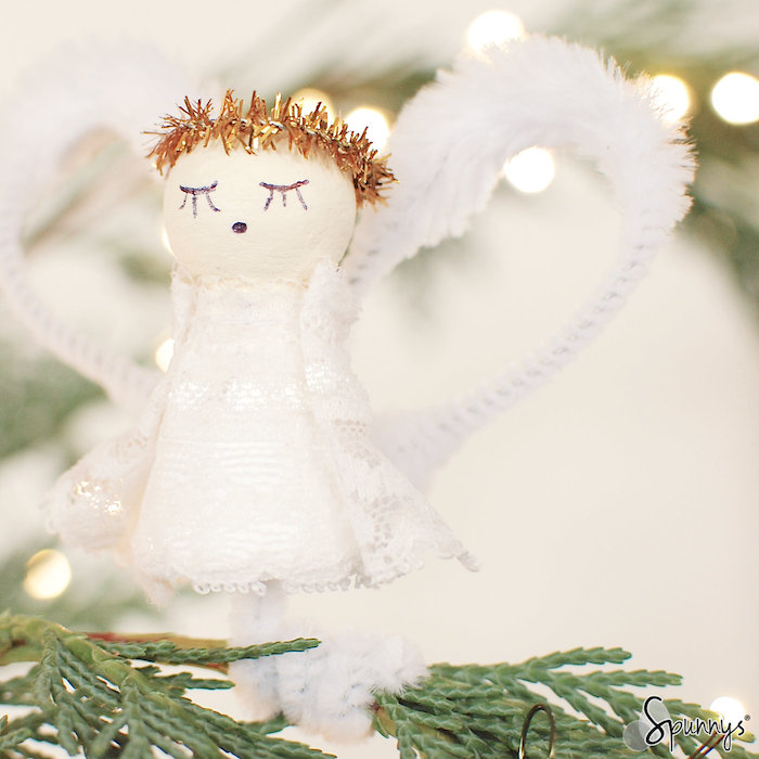 Spun cotton shapes vintage style angel ornament
