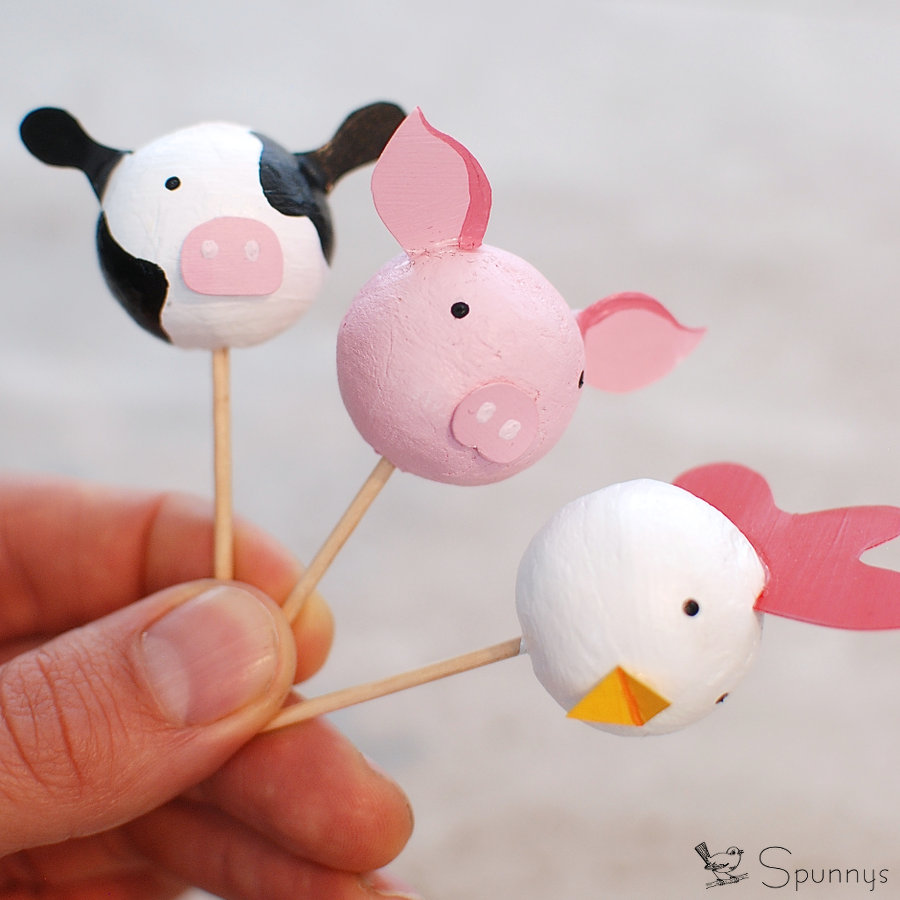 farm animal cupcake toppers DIY cake pops