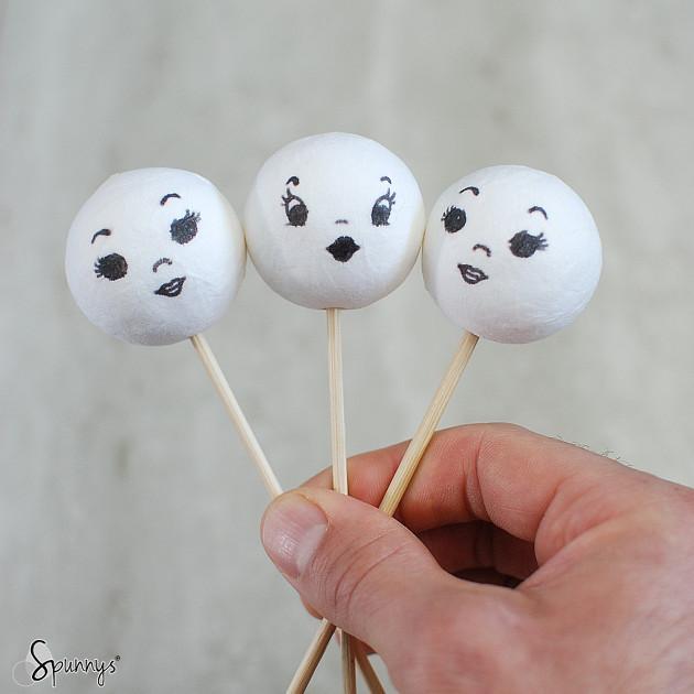 spun cotton balls vintage doll heads
