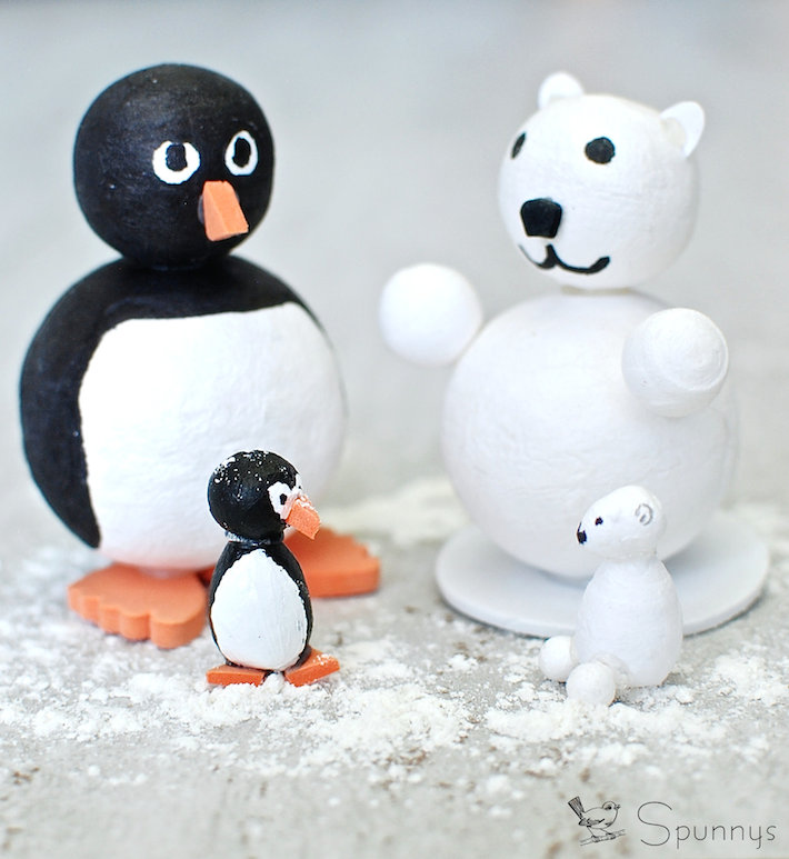 Penguins and polar bears DIY ornament figures