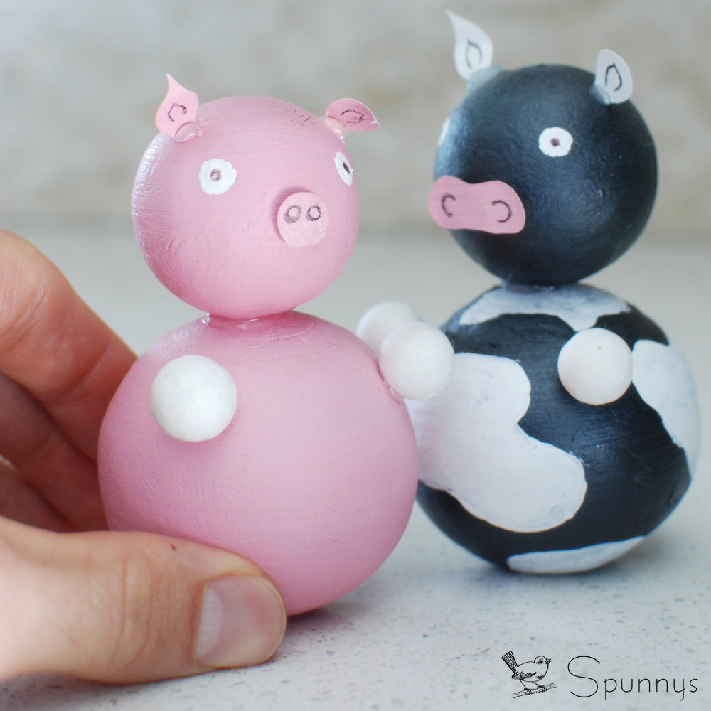 DIY cow piggy craft farm animal figurines