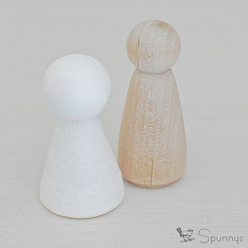 wooden peg doll vs spun cotton