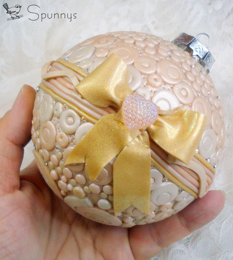 polymer clay christmas ornament ball