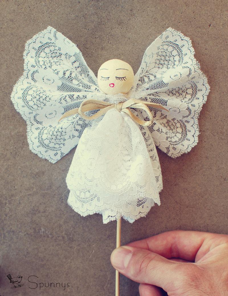 Vintage angel ornament spun cotton ball DIY