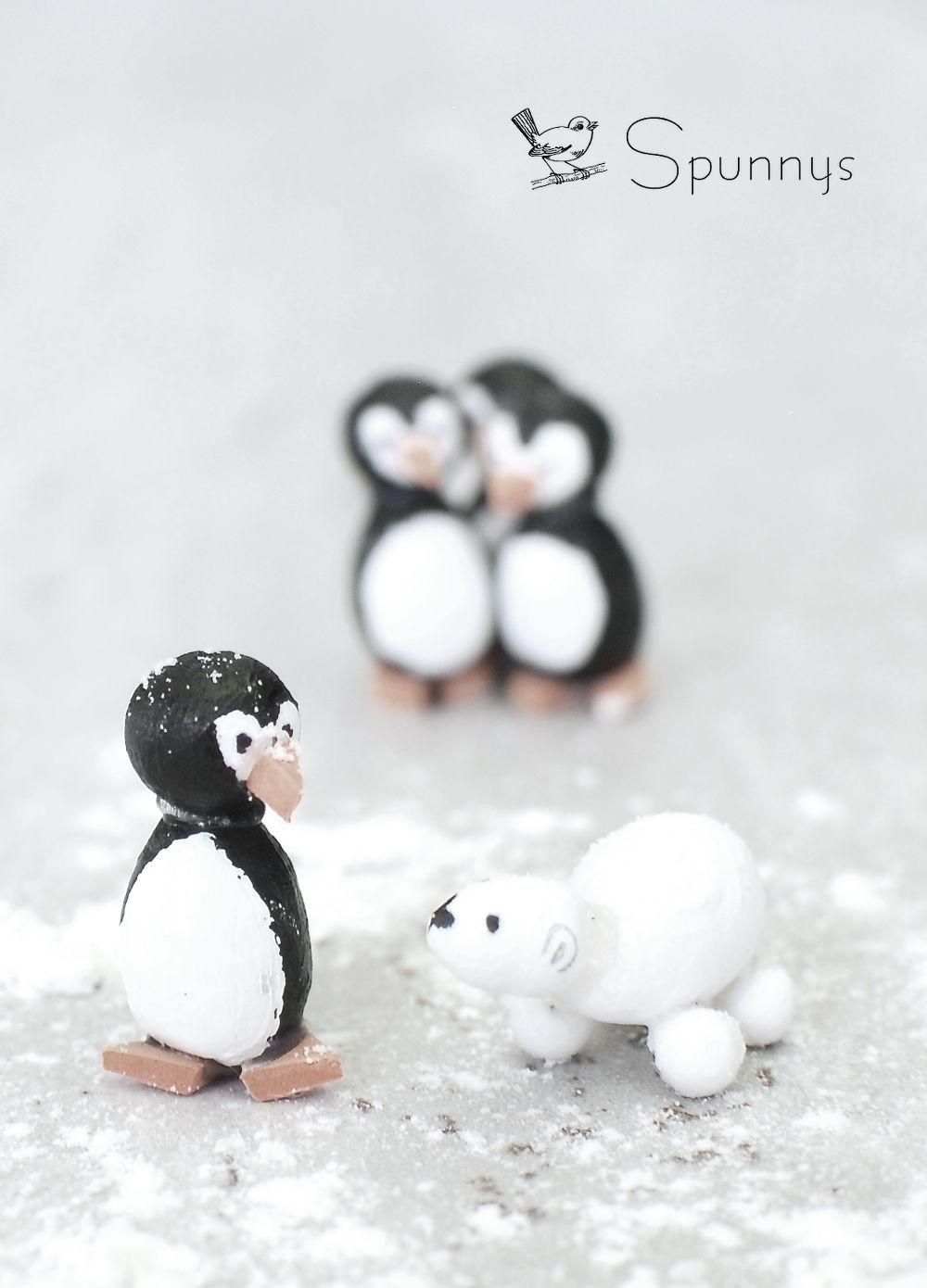 Penguin miniature ornaments spun cotton DIY