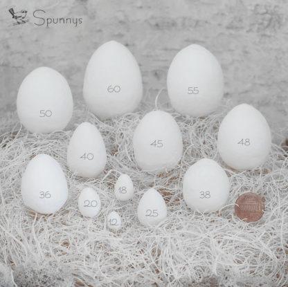 Spun Cotton Egg Sizes