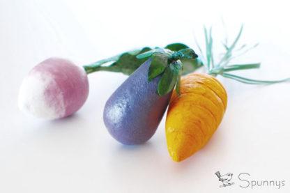 mini légumes artificiels en ouate de cellulose DIY