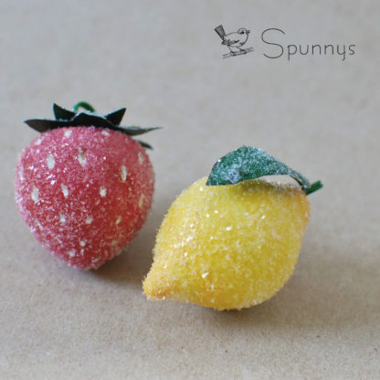 Spun cotton strawberry lemon ornaments
