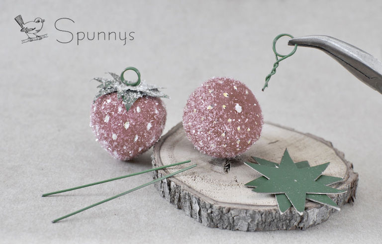 Strawberry spun cotton ornaments DIY
