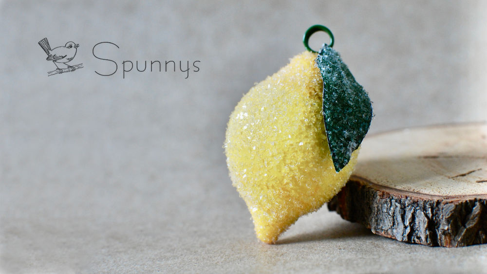 how to make glittered lemon ornaments from spun cotton