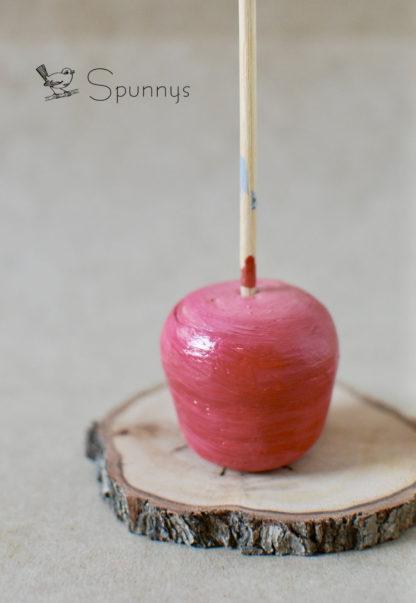 spun cotton apple ornament tutorial