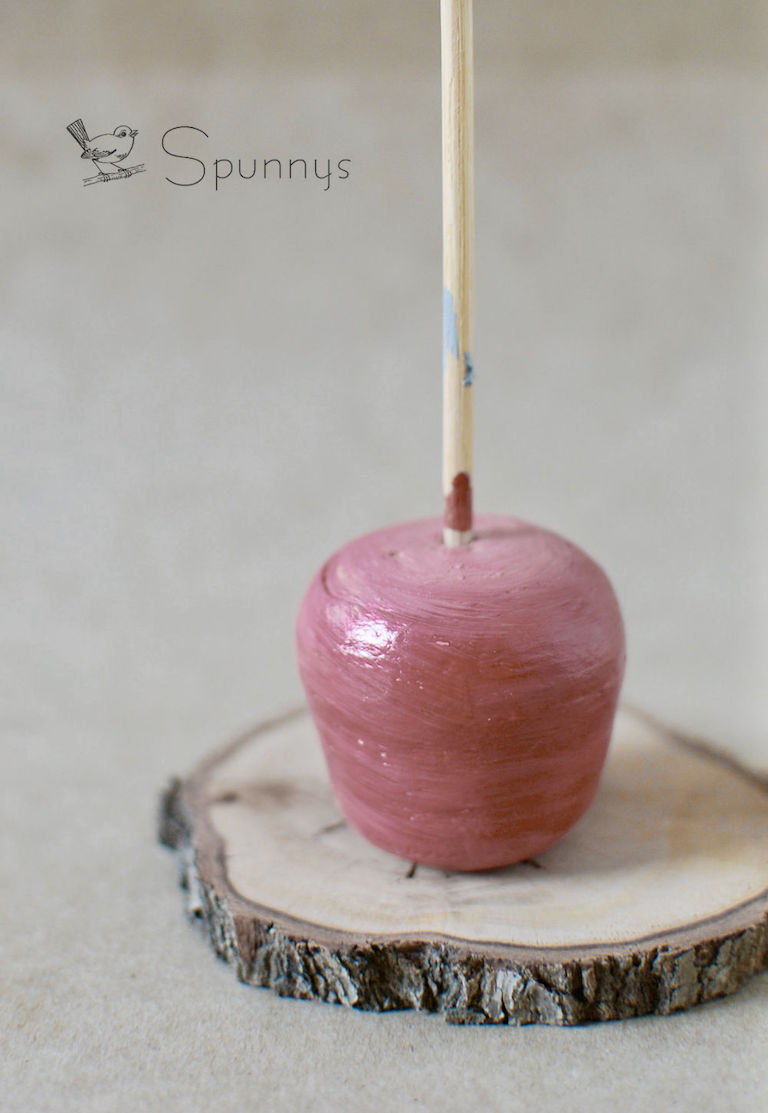 spun cotton apple ornament vintage