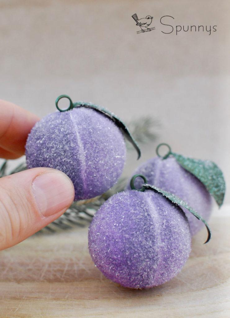 spun cotton ornaments - sugar plums