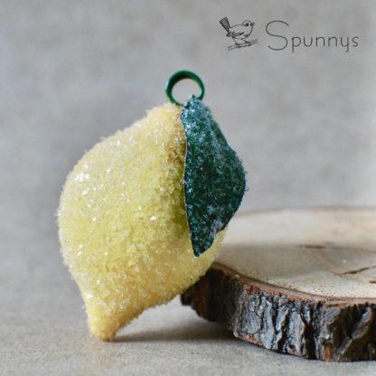vintage lemon ornament glass glittered