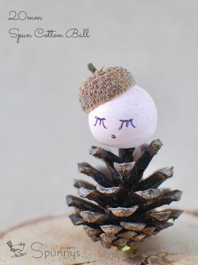 Pinecone doll ornament DIY spun cotton