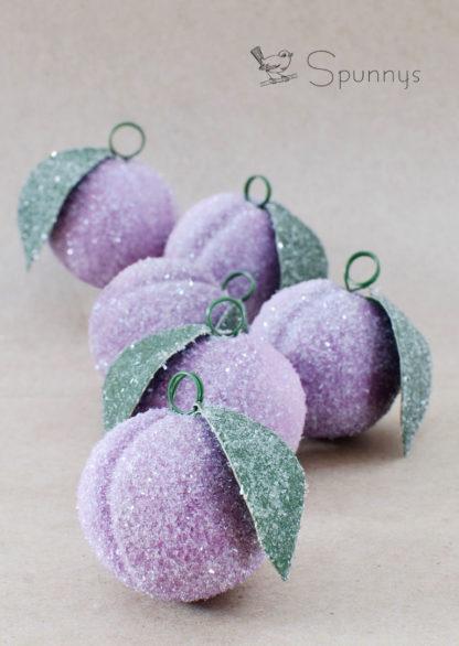 Spun Cotton Sugar Plum Vintage Glittered Ornaments