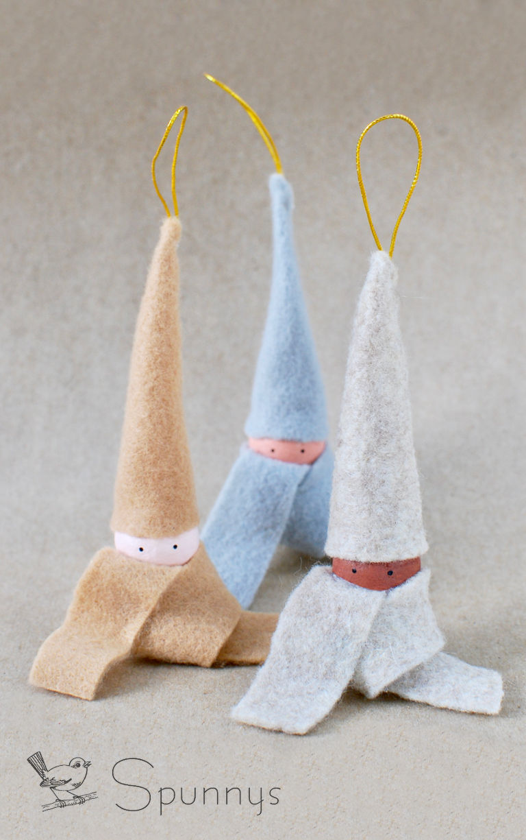 elf felt hanging ornaments spun cotton DIY