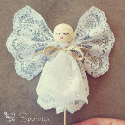 Vintage angel ornament spun cotton ball spunnys