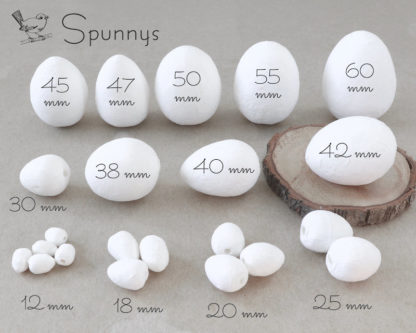 Spun Cotton Eggs SPUNNYS all sizes mm