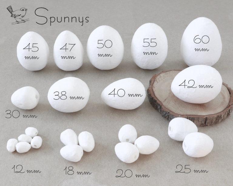 Spun Cotton Eggs SPUNNYS all sizes mm