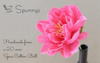 Crepe Paper Flower Pink Peony 20mm ball SPUNNYS